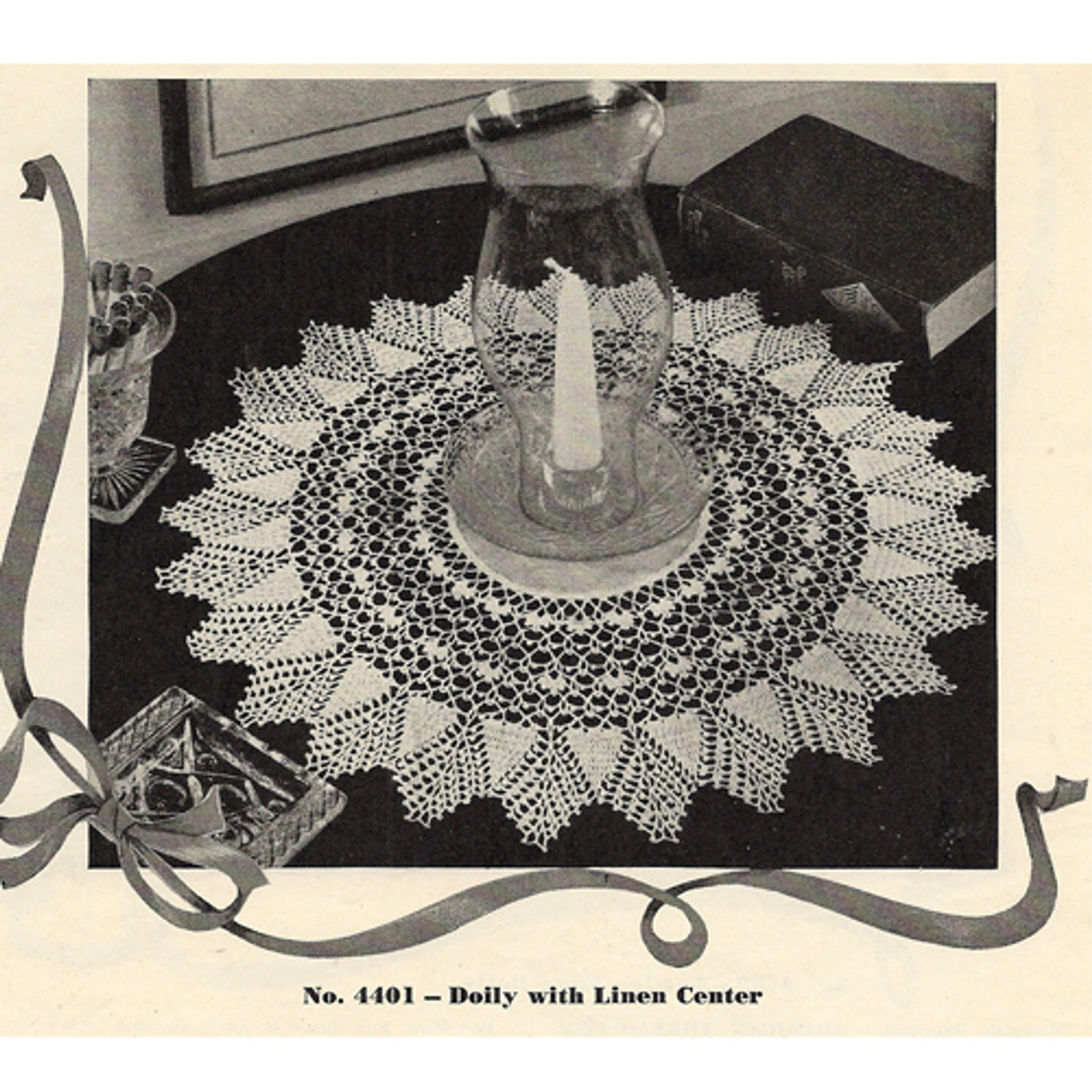 Sunburst Crochet Doily with Linen Center