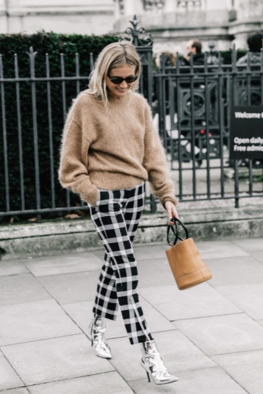 Le Fashion Blog London Fashion Week Tan Oversized Sweater Plaid Trousers Silver Boots Bucket Bag Via Collage Vintage