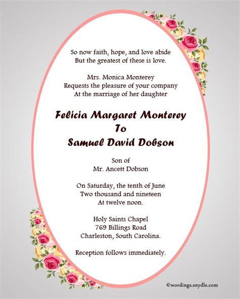 Nice Christian Wedding Invitation Wording   Invitations