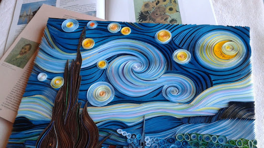 "See How ""The Starry Night"" Was Recreated Through Quilling Paper"