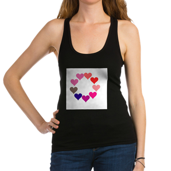 Circle of Rainbow Hearts Racerback Tank Top
