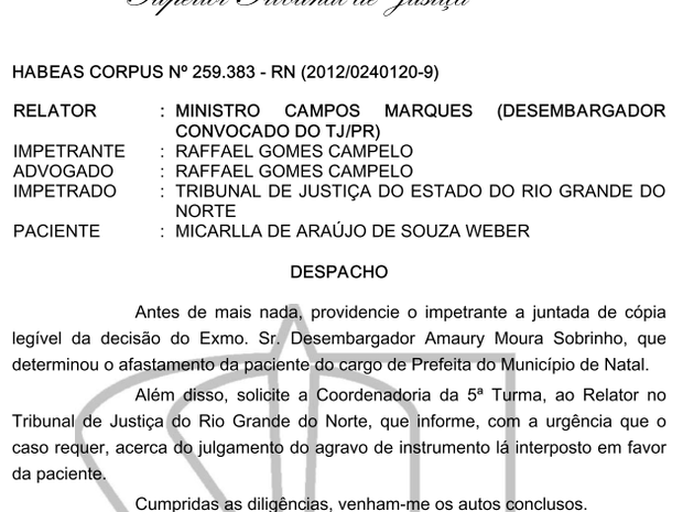 Despacho do Superior Tribunal Federal no processo de Micarla de Sousa (Foto: Reprodução)