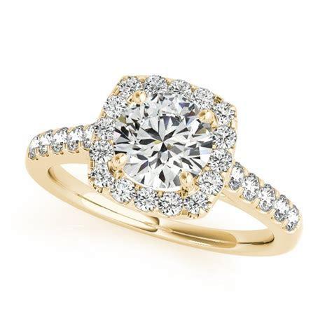 Yellow Gold Engagement Ring Square Halo Diamond Round Cut