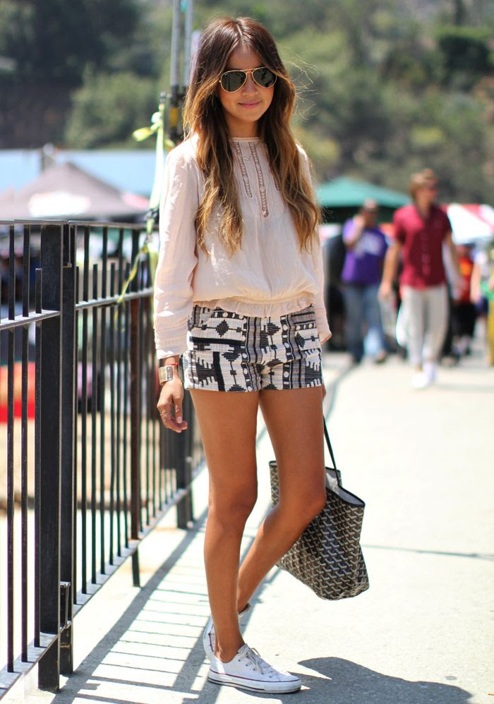 Blouse: Zara (similar here) Shorts: Thrifted Sneakers: Converse Sunglasses: Ray Bans