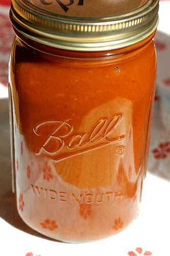 Jar of homemade barbecue sauce by Eve Fox, Garden of Eating blog, copyright 2011
