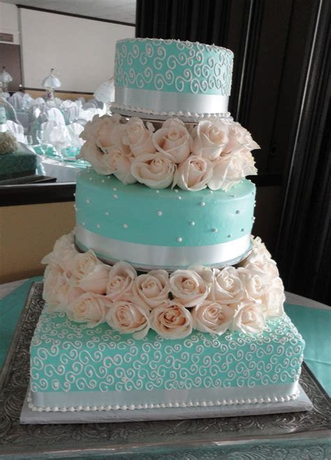 Light blue and white wedding cakes   idea in 2017   Bella