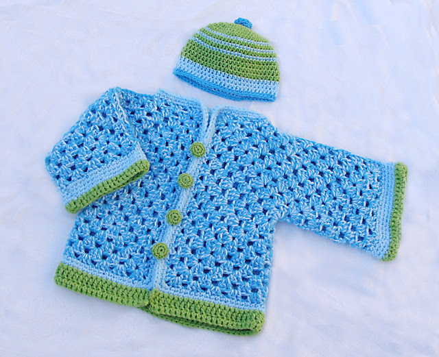 Crocheted Baby Chunky Granny Hex Sweater