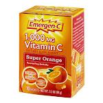 Emergen-C 1000 Mg Vitamin C Fizzy Drink Mix, Super Orange - 10 Ea