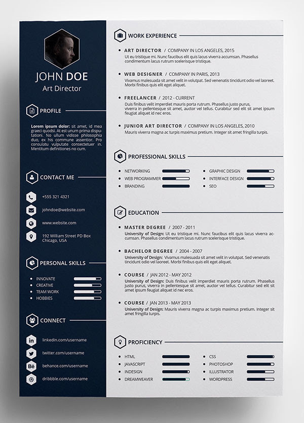 Free Creative Resume Template in Indesign PSD Format