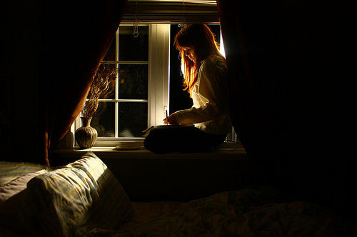 bedroom, expressive, girl, night, thoughts, window - inspiring picture on Favim.com