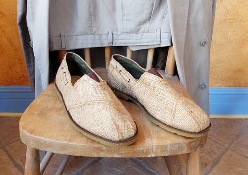 Young entrepreneurs turn burlap coffee sacks into shoes.