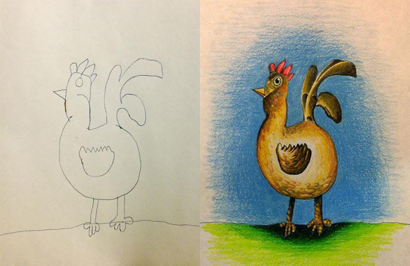 dad colors in his kids drawings (7)