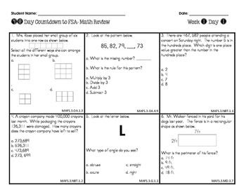 6th Grade Math Fsa Review Packet Answer Key