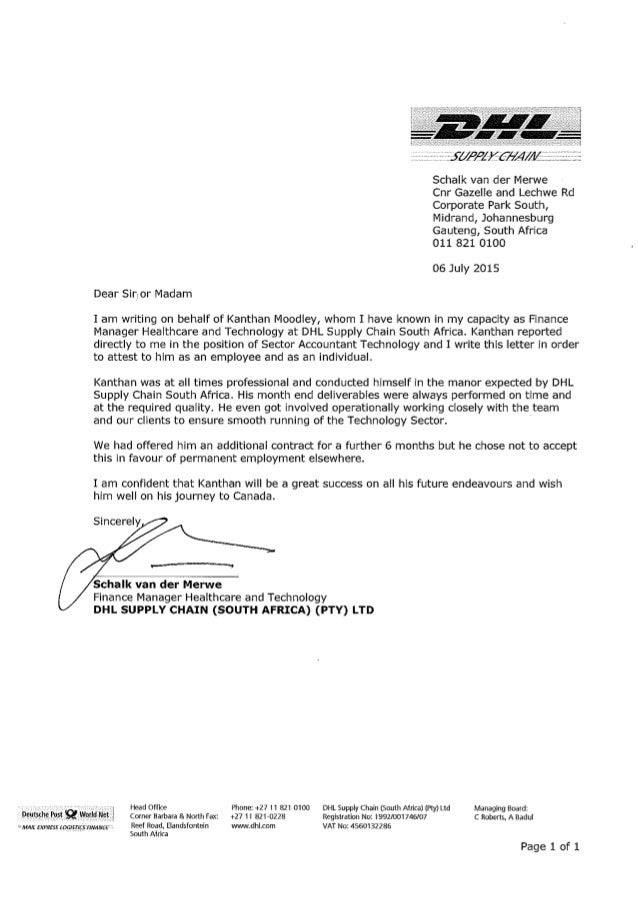 Letter Of Recommendation Dhl Supply Chain South Africa
