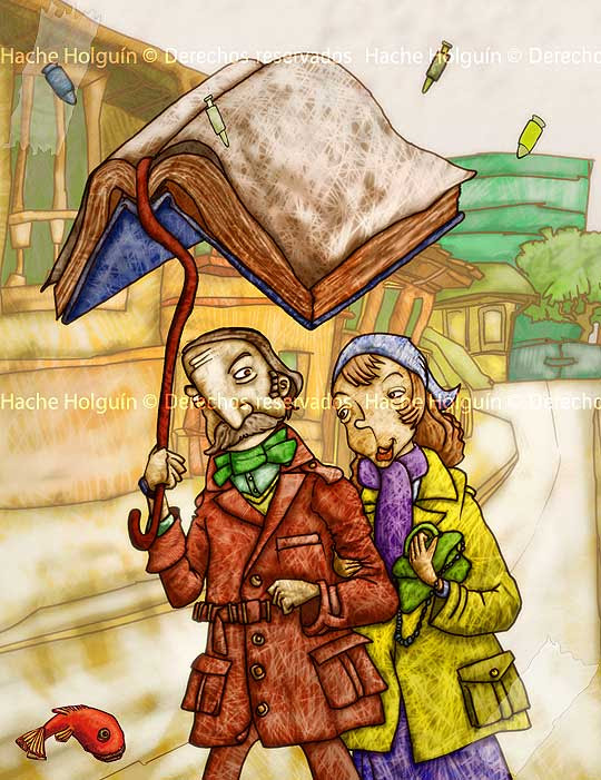Menos plomo, más pluma, ilustración digital