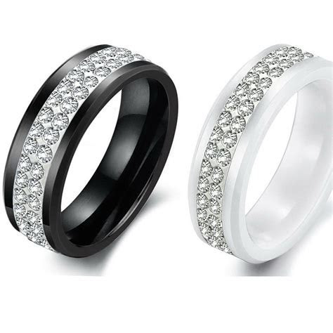 Men Womens Ceramic Cubic Zirconia Ring Wedding Anniverasry