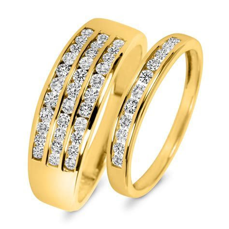 7/8 Carat T.W. Diamond His And Hers Wedding Rings 14K
