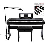 Yamaha DGX-660 88-Key Digital Grand Piano with ATR1200 Microphone, Mic Stand, Knox Flip Top Bench and Focus Piano Book