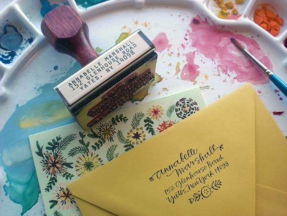 return address stamp - flower -  custom calligraphy