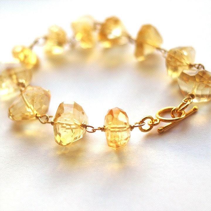 Crystal Honey bracelet - citrine and gold filled vermeil clasp