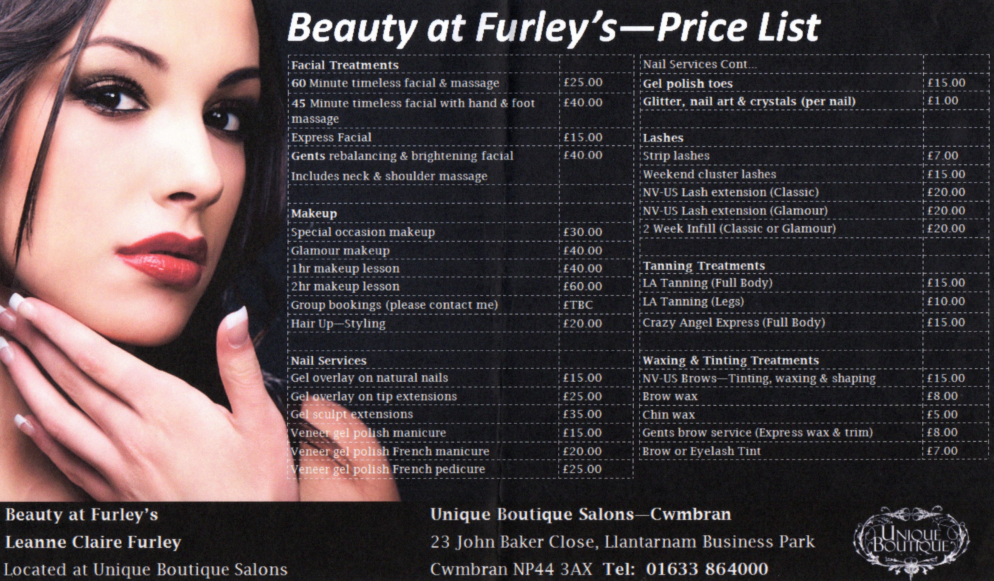 Beauty at Furley's price list