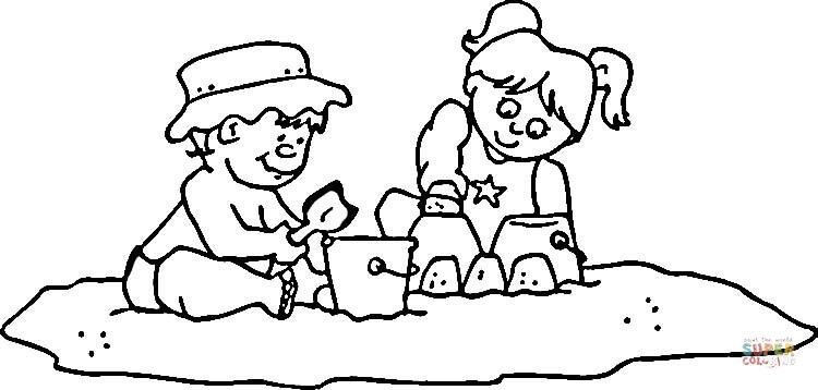 Dibujos De Ninos Jugando En La Playa Para Colorear Imagesacolorier