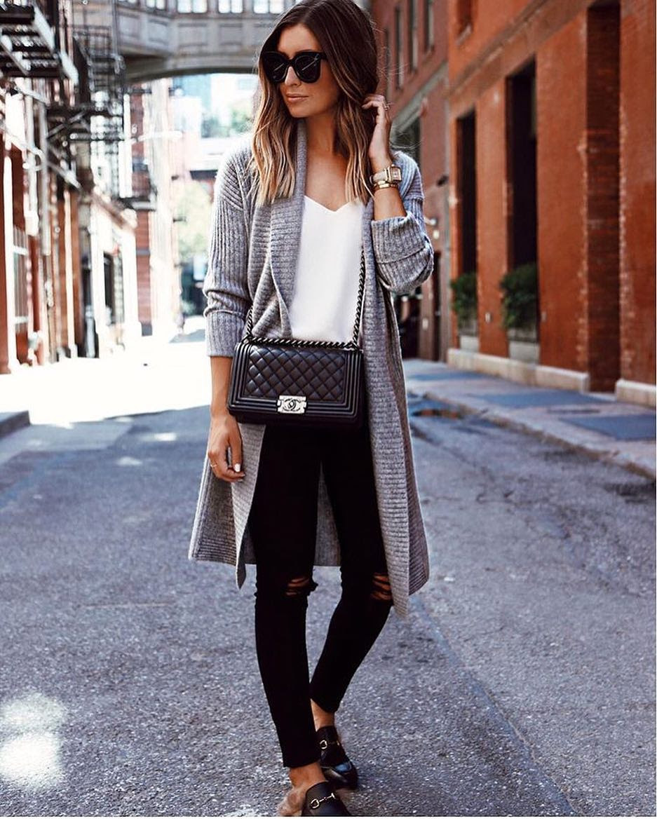 Spring Outfit: Grey Wool Cardigan With White Top, Ripped Black