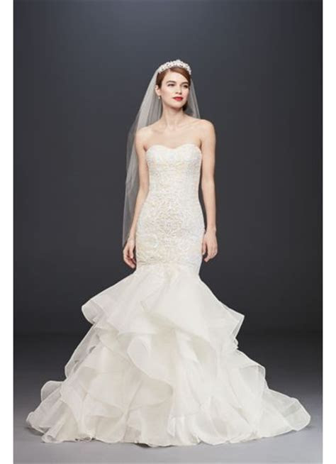 Long Scroll Lace Trumpet Wedding Dress   David's Bridal
