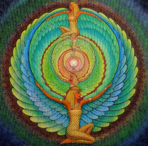 ISIS magic Wings Egyptian Goddess spiritual Art mandala fantasy 8x8 print. By Halstenberg Studio via Etsy.