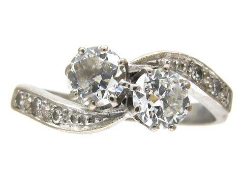 18ct White Gold Art Nouveau Two Stone Diamond Crossover