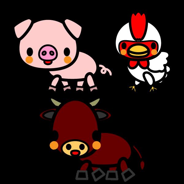 かわいい牛豚鶏の無料イラスト商用フリー オイデ43