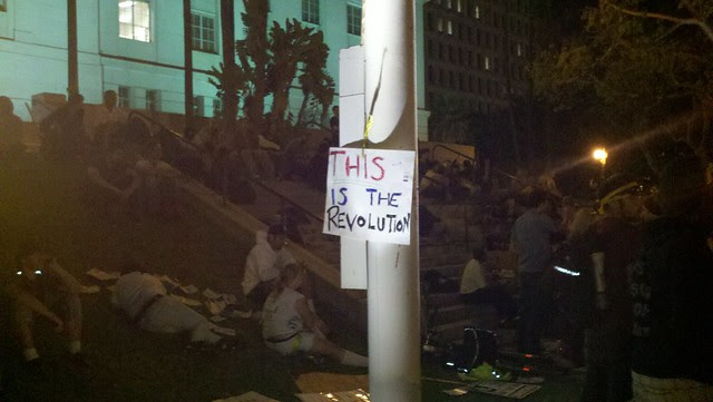 Night falls on Day One of Occupy LA