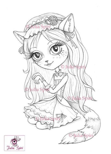 coloring pages digital stamp digi cat girl steampunk etsy