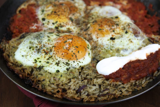 Huevos Rancheros over rice makes a satisfying breakfast skillet. - the joy of eating well