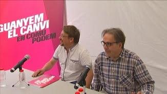 Xavier Domènech, amb Joan Subirats, en l'acte de campanya d'aquest dilluns al matí