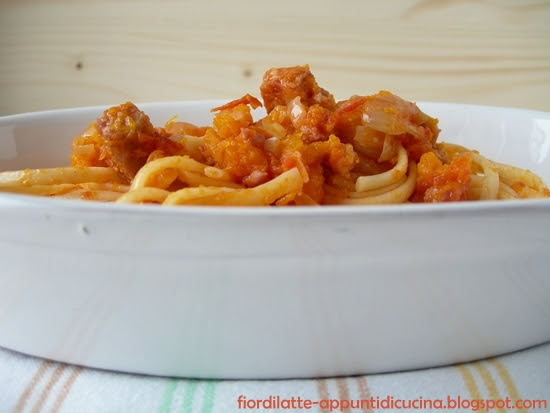 Linguine alla soppressata veneta e zucca - Linguine with soppressata and pumpkin
