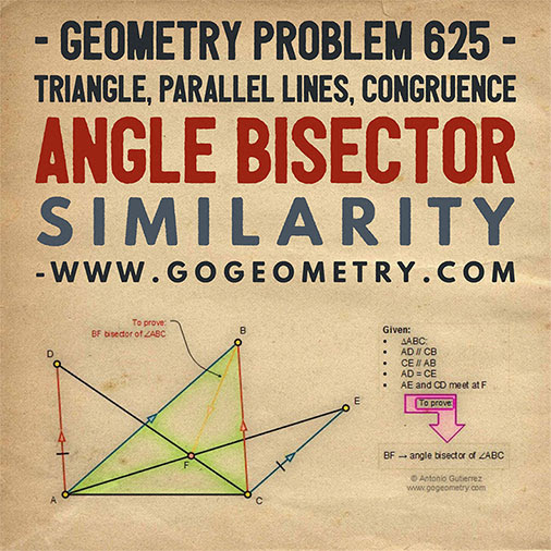 Geometric Art Typography of Geometry Problem 625: Triangle, Parallel Lines, Congruence, Angle Bisector, Similarity, iPad Apps.