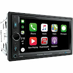 Power Acoustik CP-650 6.5 In-Dash Double-DIN Digital Media Receiver with Bluetooth & Apple CarPlay