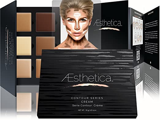Aesthetica Cosmetics Cream Contour and Highlighting Makeup Kit - Contouring Foundation / Concealer Palette - Vegan, Cruelty Free & Hypoallergenic - Step-by-Step