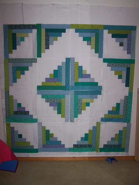 Blue Greens Log Cabin Blocks