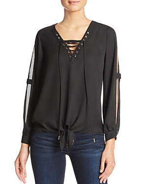 Dora Landa Jomi Lace-Up Cold Shoulder Blouse