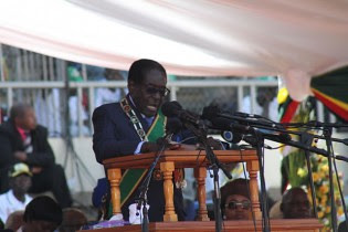 Republic of Zimbabwe President Robert Mugabe delivers inauguration speech at National Sports Stadium on August 22, 2013. by Pan-African News Wire File Photos