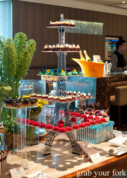 Eiffel Tower dessert tier stand at the chocolate bar afternoon tea at The Langham Melbourne