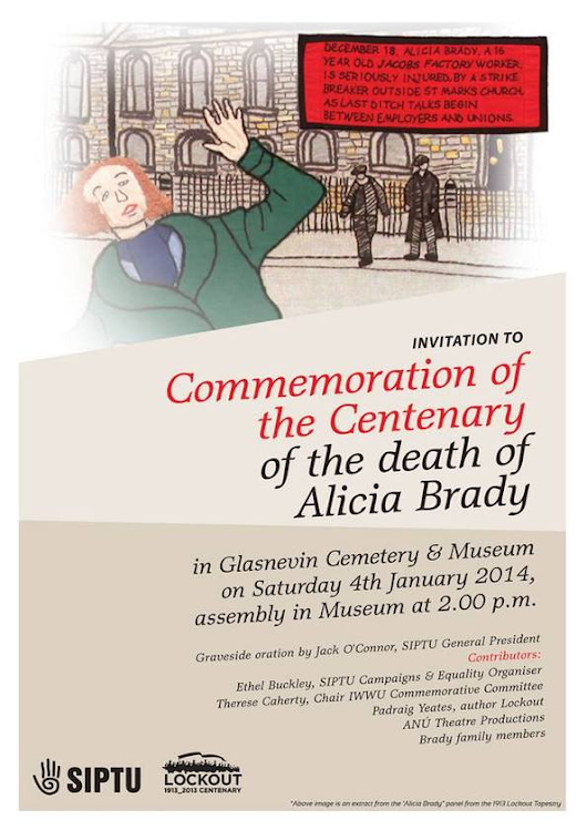 Women's Museum of Ireland | News | Centenary memorial for Alicia Brady, Jacob's factory striker - January 4th, Glasnevin Cemetery