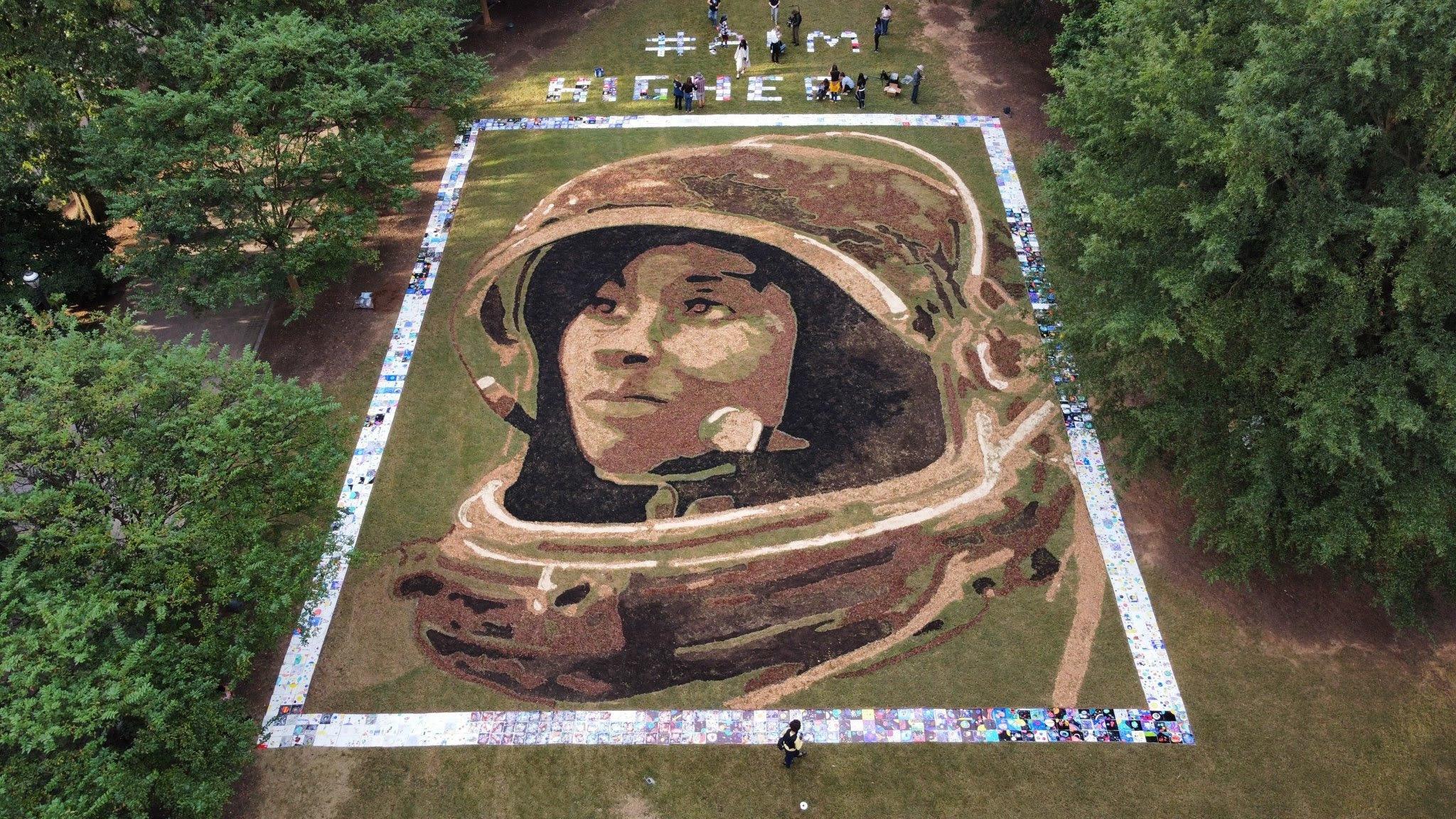 Landscape artist unveils a giant portrait of NASA pioneer Stephanie Wilson