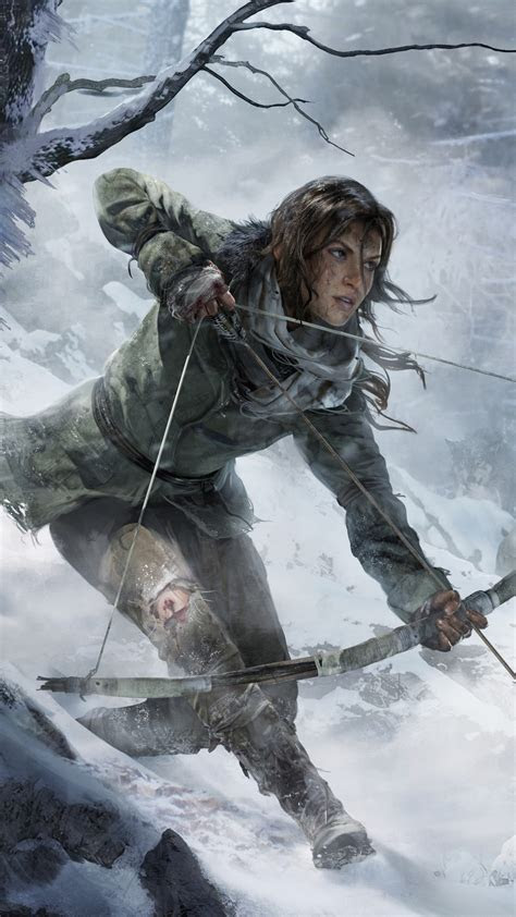 wallpaper rise   tomb raider game forest snow bow