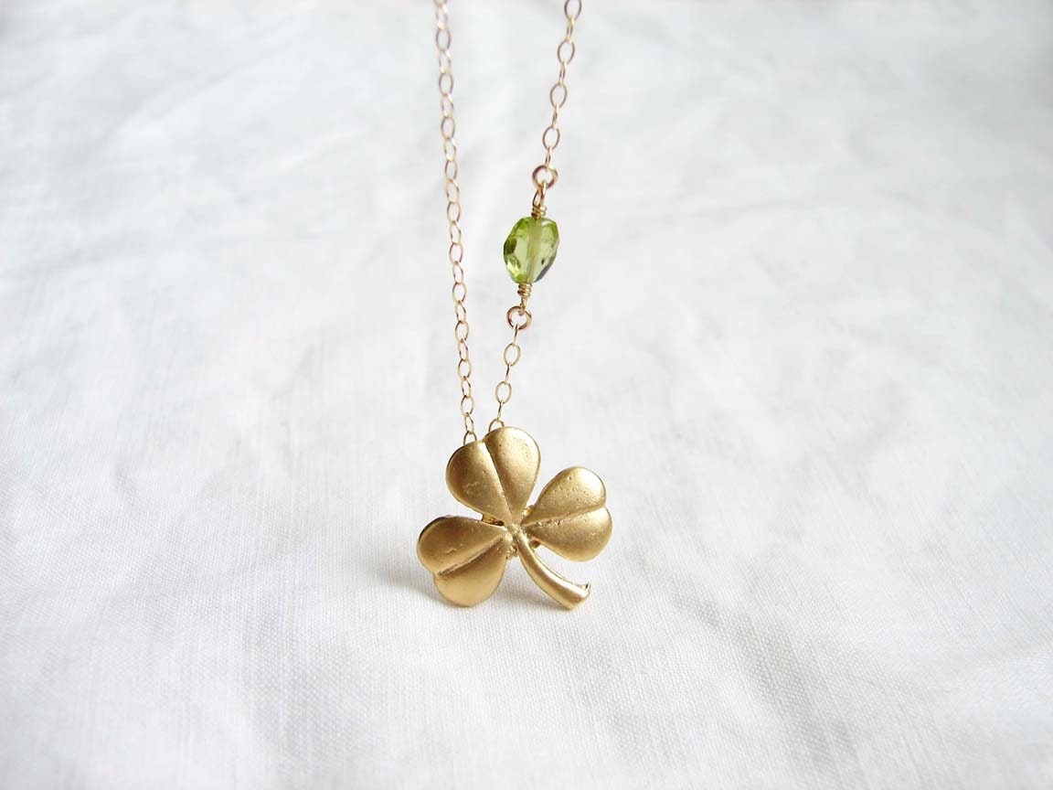 St Patrick's Day Shamrock Necklace. Lucky Clover and Peridot Stone. Simple Modern Jewelry by PetitBlue - PetitBlue