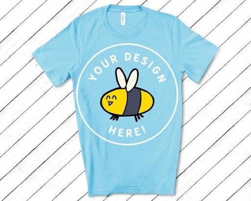 Download Free Mens Ocean Blue Bella Canvas 3001 T-Shirt Mockup ...