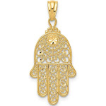 Quality Gold XR1398 14 x 25 mm 14K Yellow Gold Hand of God Pendant