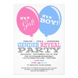 Balloons Gender Reveal Party Invitation Custom Announcements